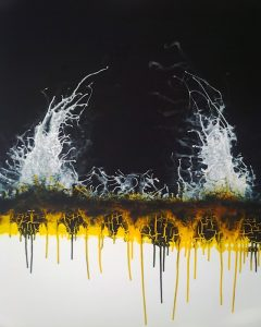 artwork, abstract painting, black, blue, orange, yellow and white
