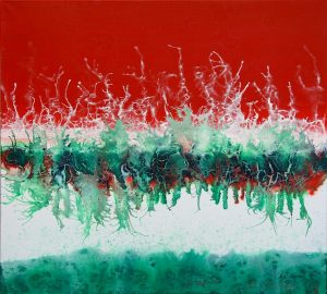artwork,abstract painting, red, green, blue and white